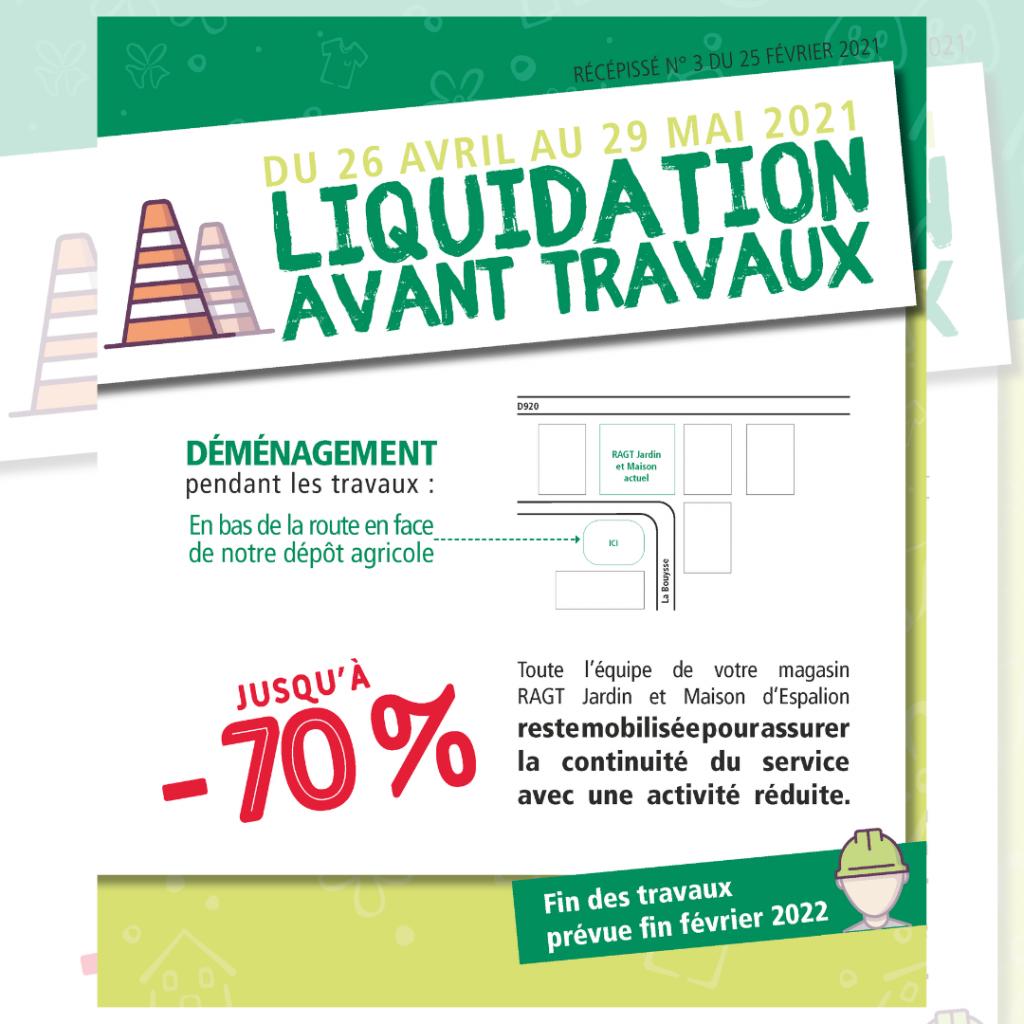 Liquidation avant travaux RAGT Jardin et Maison Espalion du 26 avril au 29 mai 2021
